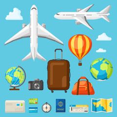 Set of travel objects in flat style