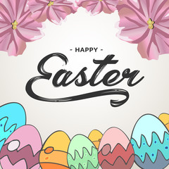 Happy Easter lettering greeting text vector illustration. Happy easter image