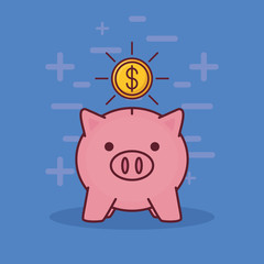 Piggy bank and money coin over blue background, colorful design. vector illustration