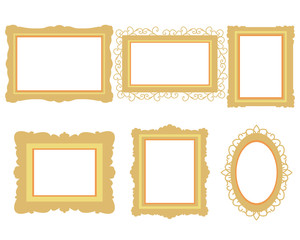 Set of picture frame isolated on white background. Flat design. Vector illustration