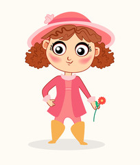 Little girl with flowers. Vector illustration