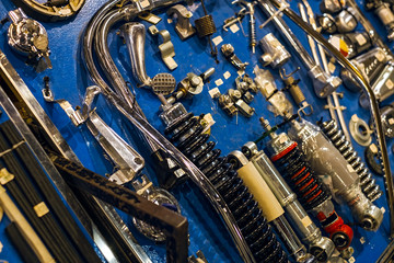 motorcycle spare parts on a board