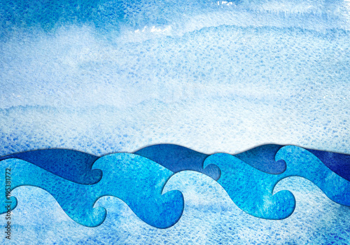 Abstract hand drawn illustration seascape cutout applique from