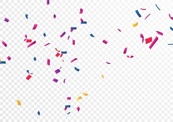 Colorful confetti, isolated on transparent background