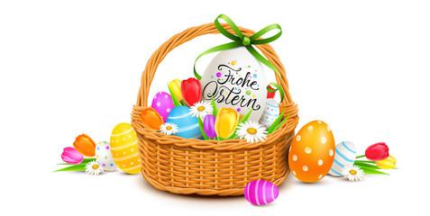 Frohe Ostern - Osterkorb Dekoration mit bunt bemalten Ostereiern und Blumen