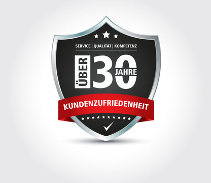 30 Jahre Wappen Kundenzufriedenheit