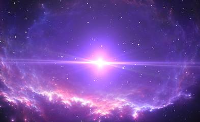 Fototapete - The bright star, supernova in the center of the nebula