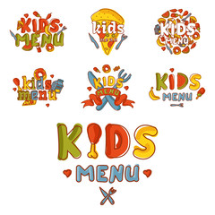 Kids organic menu hand drawn banner vector cartoon cute label cooking restaurant healthy fresh food.