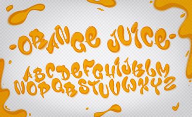 Orange juice alphabet set with border, splashes and drops on transparent background.