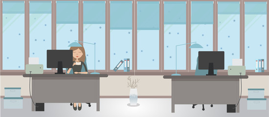 The winter office on a light blue background. Vector illustration. Two tables and two chairs, folders, large windows, protective blinds, boxes,  office worker
