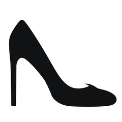 A symbol of women's high-heeled shoes. The black part on a white background. Element for design.