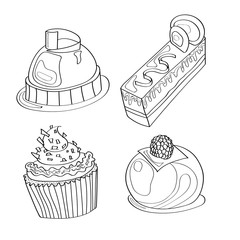 Coloring picture, coloring page with cupcakes, desserts, sweets and mousse