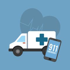 ambulance and smartphone device over blue background colorful design vector illustration