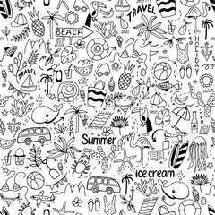 Seamless pattern with summer set of isolated cute images in dood