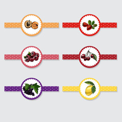 Stickers with hand drawn colored sketch with berries. Vector illustration lemon, cherry,  currant. strawberry, cherry, apricot