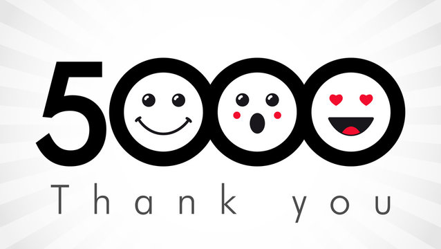 Thank you 5000 followers numbers. Congratulating black and white thanks, image for net friends in two 2 colors, customers likes, % percent off discount. Round isolated emoji smiling people faces.
