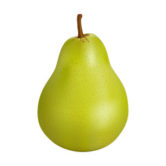 Green pear isolated on white background. Ripe fruit.