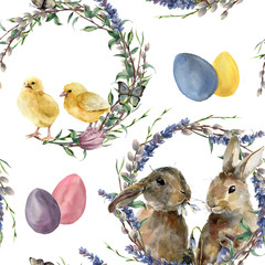 Watercolor easter wreath pattern. Hand painted rabbit, chicken with lavender, willow, tulip, color eggs, butterfly and tree branch isolated on white background. Holiday symbol illustration for design.