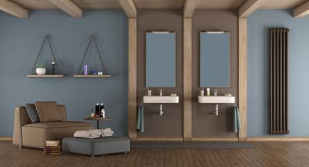 Blue and brown modern bathroom