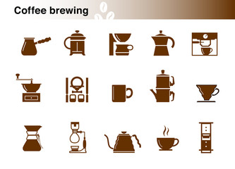 Set of coffee brewing methods.