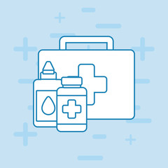 First aid kit and medicine bottles over blue background vector illustration