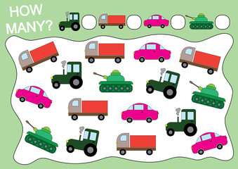 Activity for children. Educational game. How many transports?