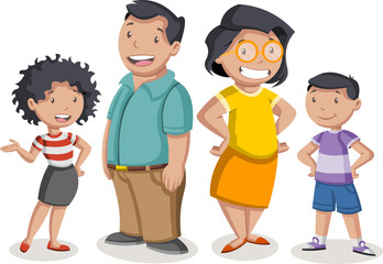 Colorful happy people. Cartoon latin family.