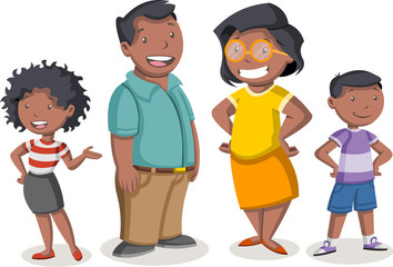 Colorful happy people. Cartoon black family.