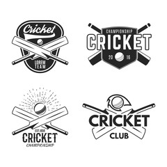 Cricket logo set, sports template emblems elements - ball, bat. Use as icons, badges, label designs or print. Cricket logo graphics. Stock Vector illustration sport championship isolated on white