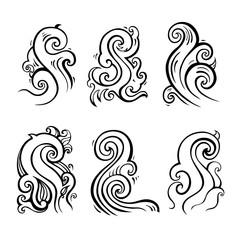 Sea waves. Hand drawn vector illustration. Design element