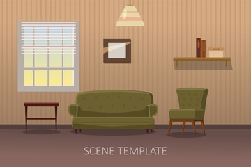 Living room interior with furniture. Vector illustration in cartoon style. Template scene for animation, isolated
