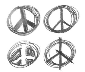 set peace sign grunge graphite pencil background and texture isolated on white background, design element