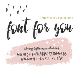 Handwritten script font. Elegance Calligraphic vector alphabet. Brushpen, brush modern calligraphy cursive typeface, Typographic set Hand Lettering and Typography Designs Logo, Packaging, card, Poster