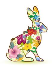 üppig dekorierter Hase mit Blumen