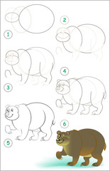 Page shows how to learn step by step to draw a cute bear. Developing children skills for drawing and coloring. Vector image.