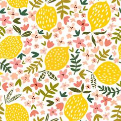 Vector flower and lemon seamless pattern