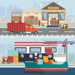 Warehouse building and shipping process in flat style. Logistic objects with elements like vehicle, people, forklift, boxes.