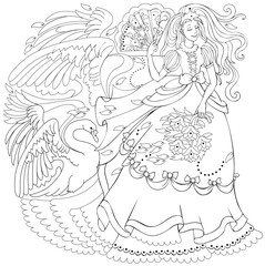 Black and white page for coloring. Drawing of fairy holding fan and fairyland swan. Worksheet for children and adults. Vector image.