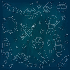 Set of vectors on a theme of space on a blue background. Stars and meteorites, a rocket and an astronaut, satellites. Drawing chalk on a blackboard. Vector illustration. Template on the theme of space