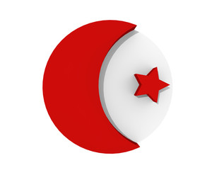 Islamic symbol, crescent and star in red isolated on white. 3d rendering