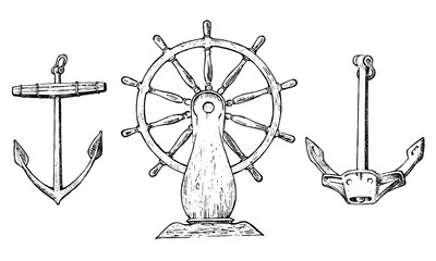 Boat s wheel and sea anchor. Marine sketch, nautical journey in the ocean. engraved vintage, hand drawn, atlantic tidal wave. Device for motion control for ships and yachts.