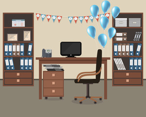 "Workplace of an office worker, decorated for his birthday. There is a desk, a phone, a chair and other objects in the image. Also there are blue balloons, flags ""Happy Birthday"" here. Vector"