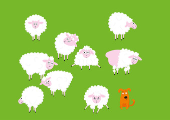 Funny cute sheep cartoon characters set. Vector Illustrations isolated on green background