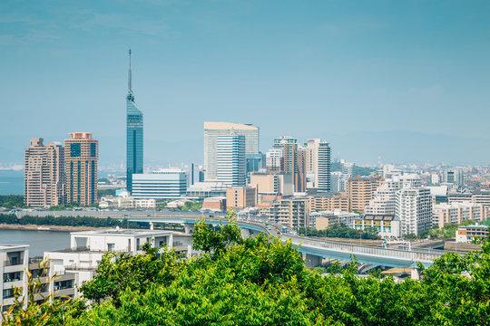 Japanese modern buildings, urban landscape in Fukuoka, Japan