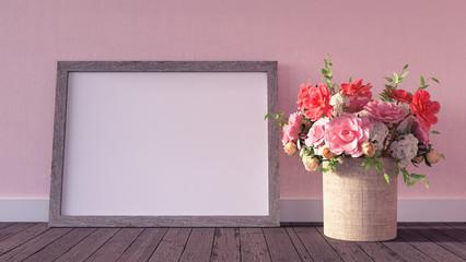 Mock up frame hipster background 3d render 3d illustration