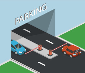 Isometric 3D vector illustration entrance and exit to the parking lot