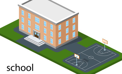 Isometric 3D concept vector illustration school with basketball field