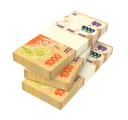 Argentina pesos isolated on white with clipping path. 3D illustration.