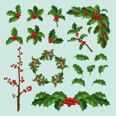 Merry Christmas mistletoe berry vectror leaf and branch. Traditional hand drawn christmas berry greeting card. Holiday christmas natural leaves decoration floral design isolated on background