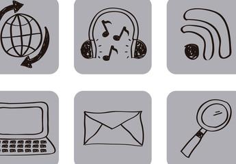 16 Square Hand-Drawn Social Media Icons